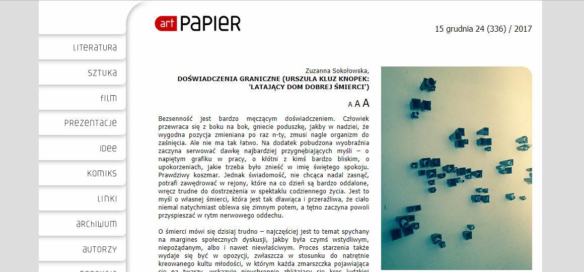 Zuzanna Sokołowska pisze dla magazynu art paper